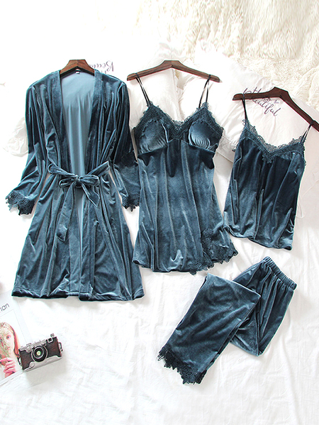 Blue Grey Lace Trim Four Piece Velvet Pajama Set