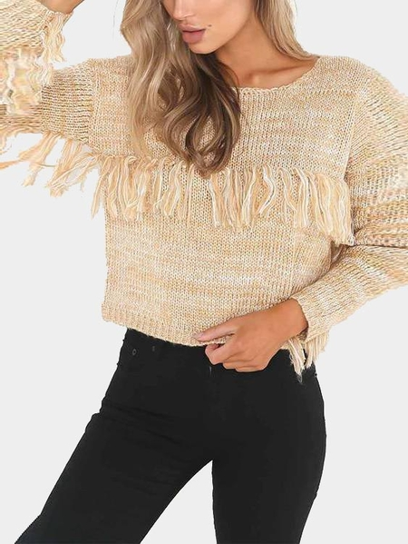 Apricot Tassel Round Neck Long Sleeves Sweater