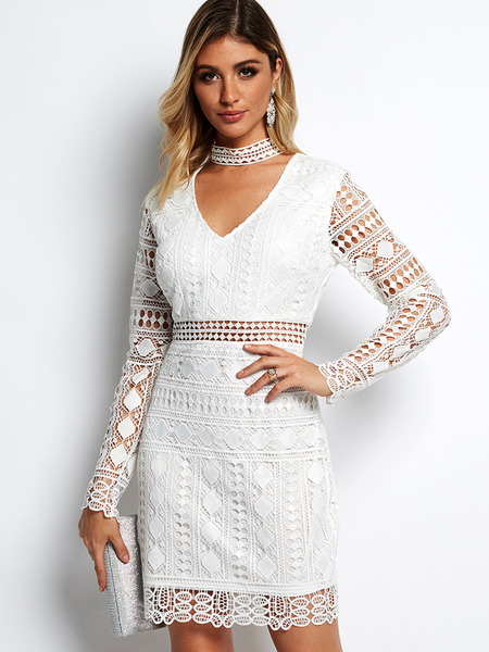 White V-neck Long Sleeves Mini Length Lace Dress