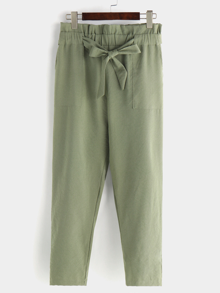 Green Skinny Pants with Belt