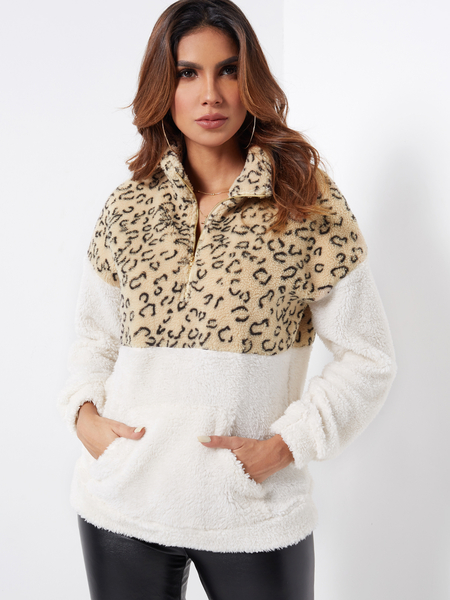 Color Block Zipper Front Leopard Chimney Collar Long Sleeves Fluffy Sweatshirts