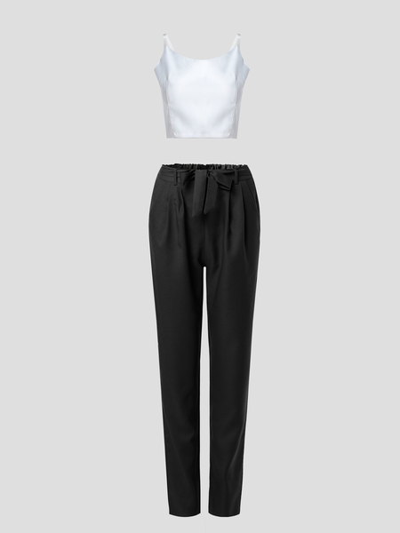 White V-neck Camis & Black Self-tie Design Pants Two Piece Outfits