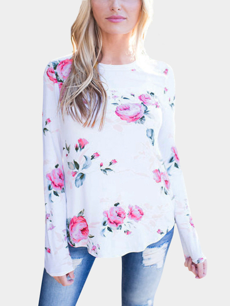 White Random Floral Print  Round Neck Long Sleeves T-shirt