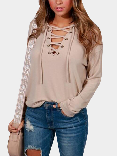 Khaki Lace-up Front Long Sleeves T-shirts