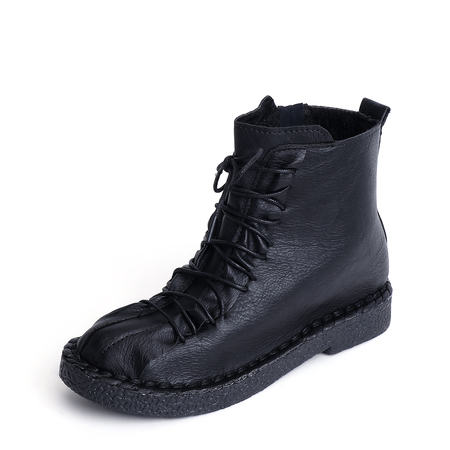 Black Lace-up Design Round Toe Martin Boots