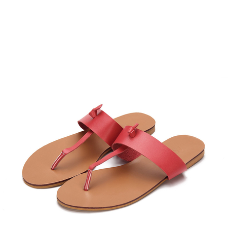 Red Leather Look Simple Style Flat Sole T-bar Strap Slippers