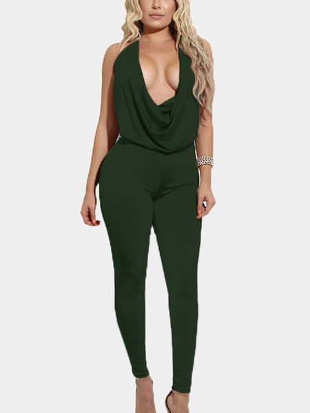 Army Green Halter Backless Design Deep V Neck Jumpsuits