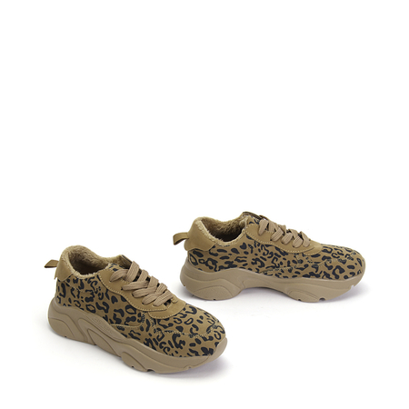 Apricot Leopard Pattern Lace-up Fur Lined Sneakers