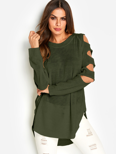 Green Cut Out Plain Crew Neck Long Sleeves Slit Hem Sweaters