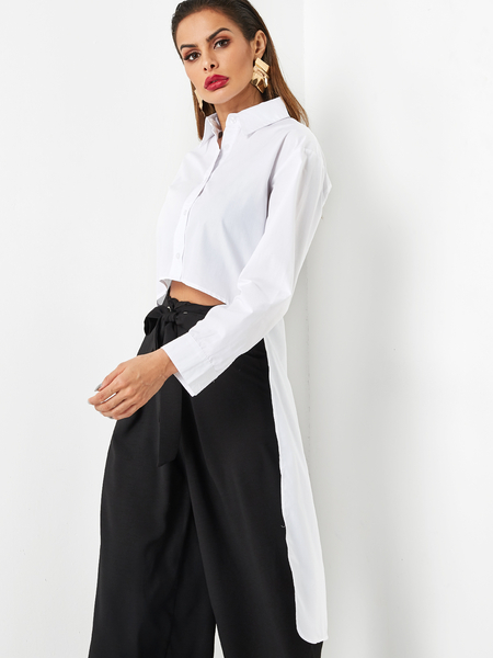 White Lapel Collar High-low Hem Blouse