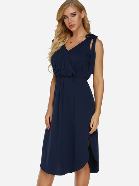 Navy Self-tie Design V-neck Sleeveless Stretch Waistband Slit Hem Dress