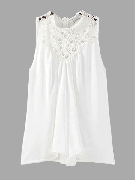 White High Neck Sleeveless Playsuit with Lace Insert