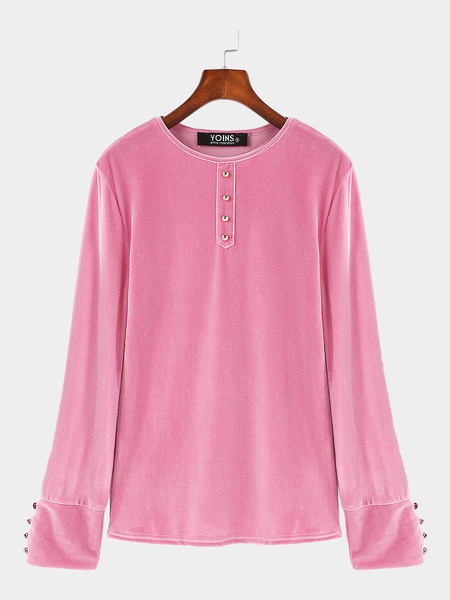 Pink Velour Round Neck Buttons Design Top