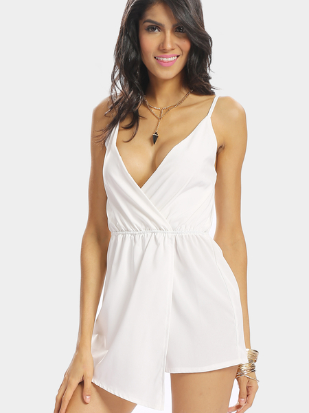 White V-neck Irregular Hem Backless Wrap Front Playsuit