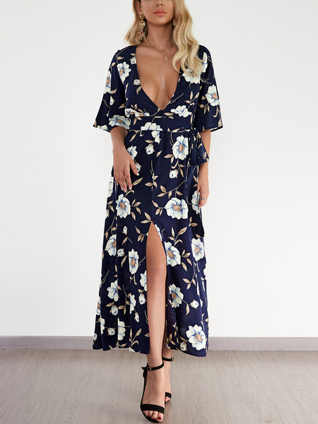 Navy Deep V-neck Random Floral Slit Maxi Dress