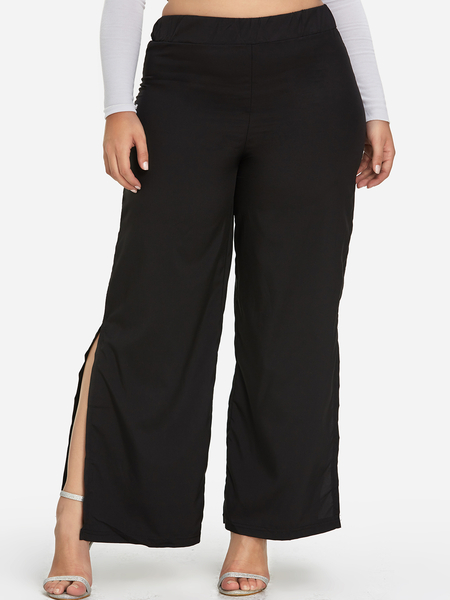 Plus Size Black Slit Hem Wide Leg Pants