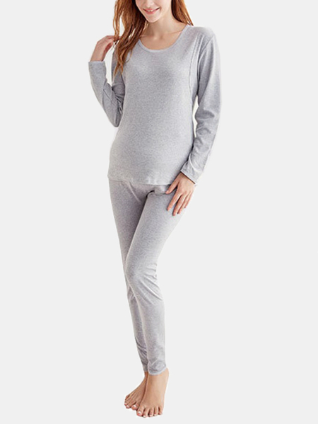 Grey Round Neck Side Stitching Elastic Maternity Pajamas Set