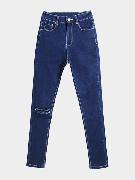 Blue Skinny Jeans With Rips