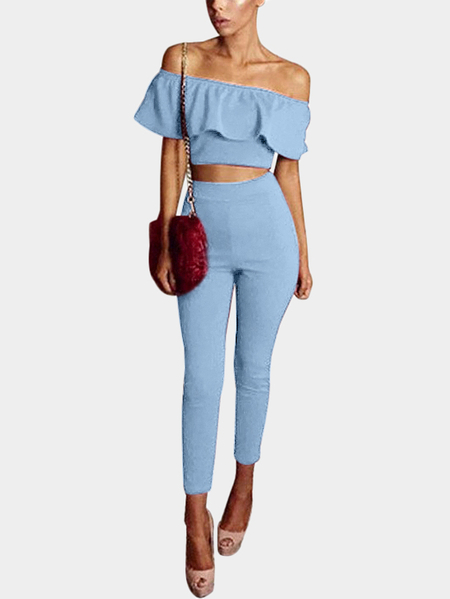 Light Blue Sexy Off Shoulder Two Piece Outfi