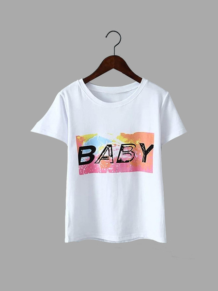 Loose Casual Random Color Letter Pattern Round Neck T-shirt