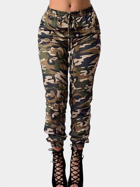 Camouflage Print Mid-rise Pants