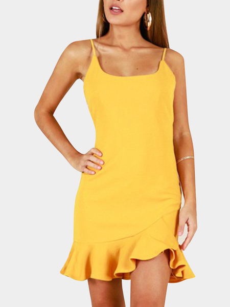 Yellow Spaghetti Backless Flounced Hem Mini Dresses