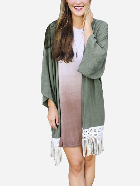 Celadon Fashion Kimonos With Tassel Hem Details