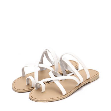 White Cross Straps Fashion Style Flat Slippers
