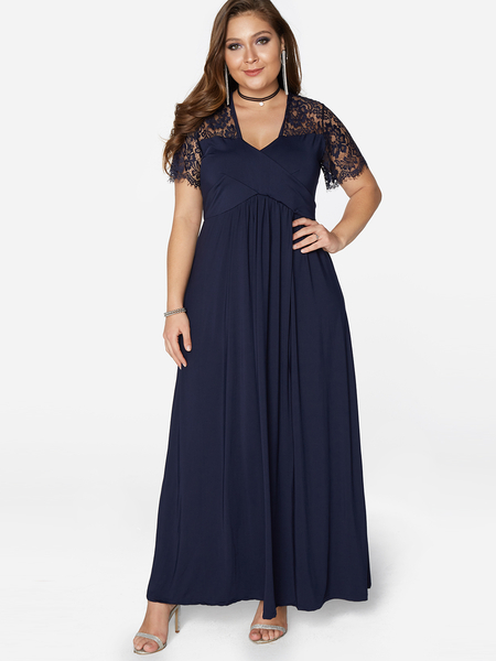 Plus Size Navy Stretch Lace Insert Maxi Dress