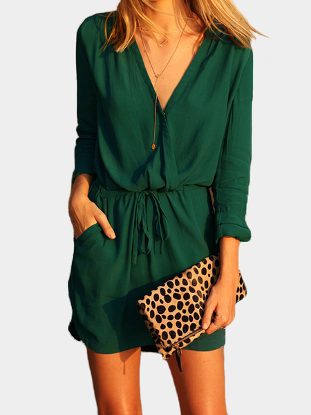 Green V-neck Drawstring Waist 3/4 Length Sleeves Wrap Dress with See-through Design