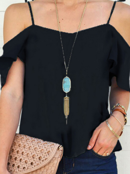 Black Cold Shoulder Causal Top