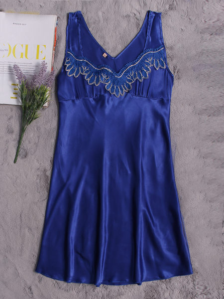 Royal Blue Silk Material Lace Decoration Pajamas Dress