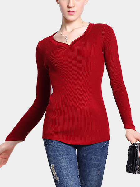 Ribbed Scoop Neck Jumper in Red