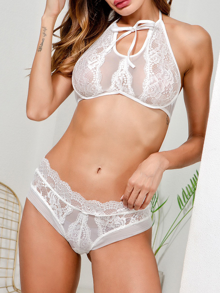 White Halter Tie-up Front Floral Lace Lingerie Set