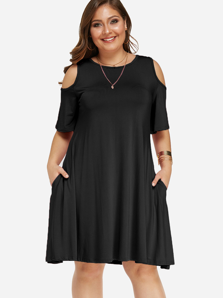 Plus Size Black Pocket Design Cold Shoulder Dress