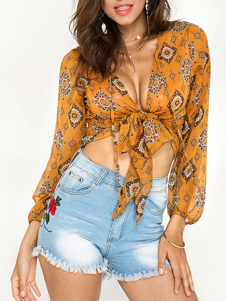 Yellow Chiffon Tie Front Random Floral Print Top
