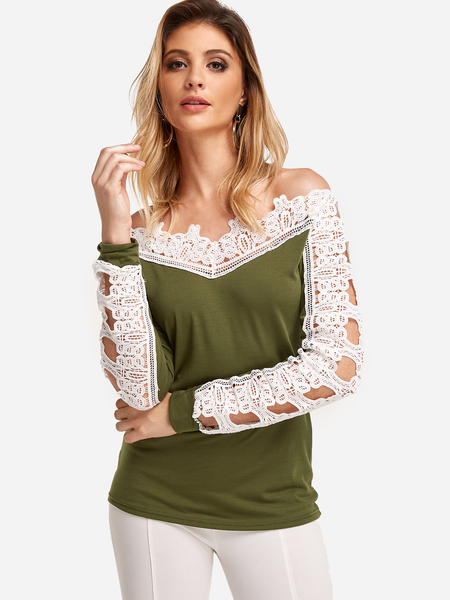 Green Off The Shoulder Lace Stitching Long Sleeves T-shirts
