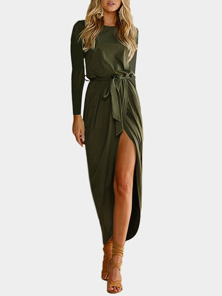 Army Green Plain Cross Hem Maxi Dress with Belt