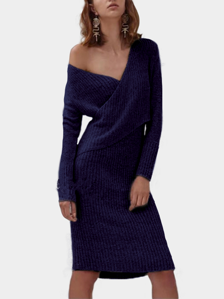 Navy Crossed Front Design V-neck Long Sleeves Sweaters Dress