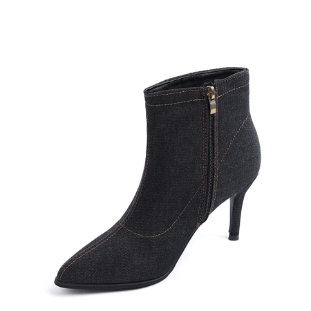 Black Denim Zip Design Ankle Boots