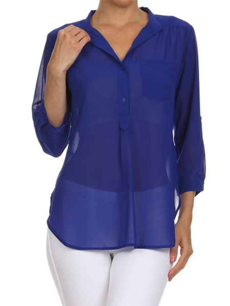 Yoins Blue V-neck Adjustable Length Sleeves Blouse With Slit Hem