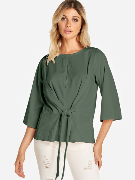 Army Green Lace-up Design Round Neck 3/4 Length Sleeves Blouses