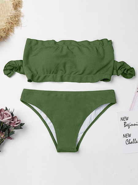 Army Green Short Sleeves Bandeau Bikini