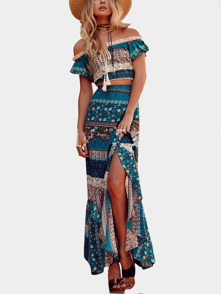 Boho Floral Print Two Piece Outfits