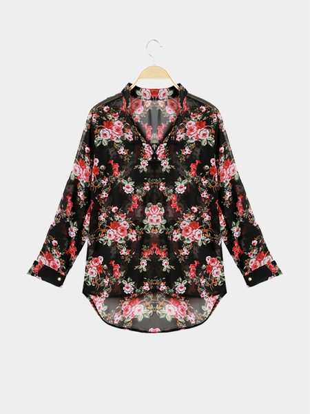 See-through Random Floral Print Buttons Details Long Sleeves Top