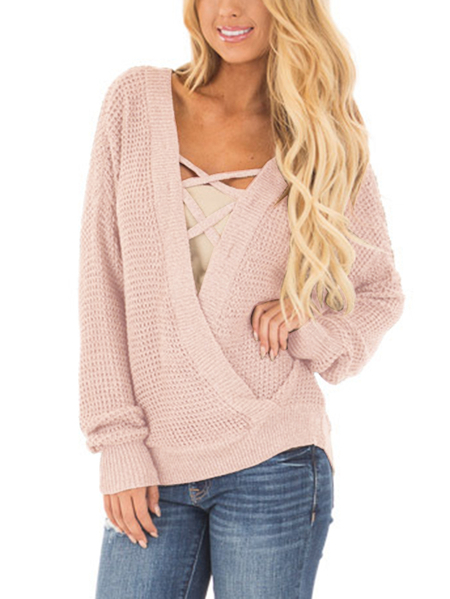 Pink Crossed Front Design Reversible Knit Sweater