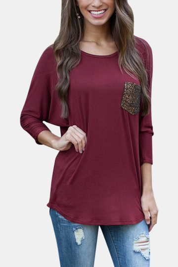 Yoins Loose Pocket Front Batwing-sleeved Blouse