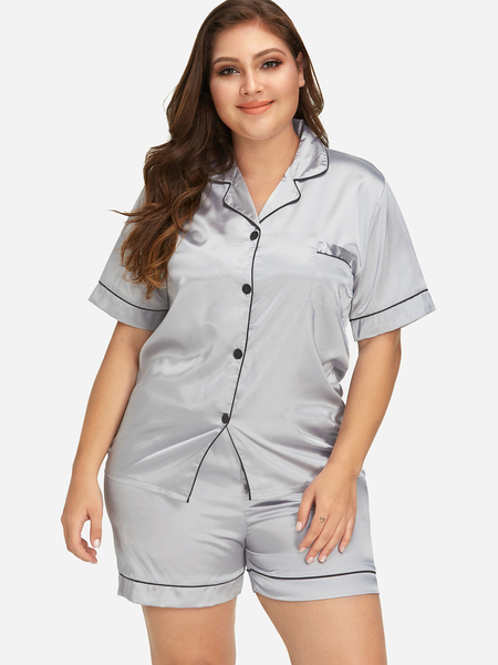 Plus Size Grey Short Sleeves Pajamas Set