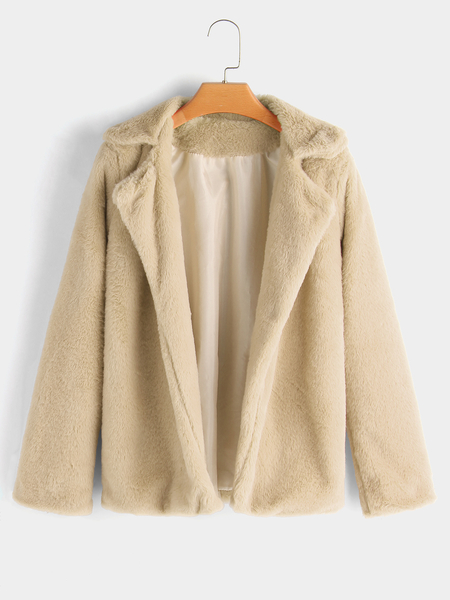 Nude Lapel Collar Fur Fashion Coat