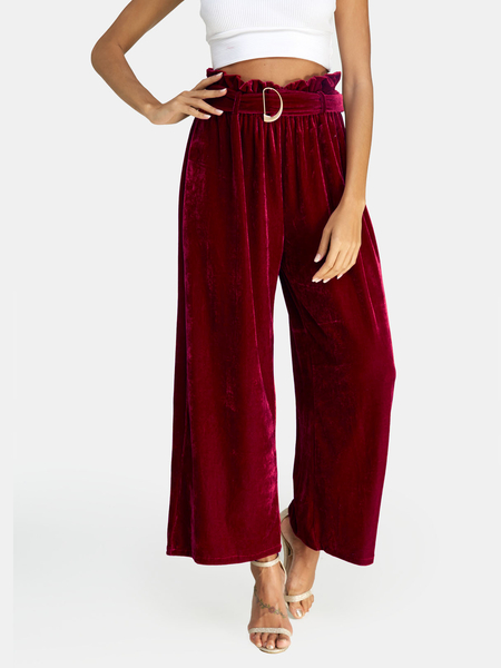 Burgundy Lace-up Design High Waist Wide Leg Pants